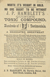 Advert For J. P. Hamblett's Quinine Tonic Compound